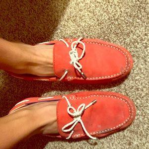 Red w White Trim Sebago M's Driving Shoes 9.5
